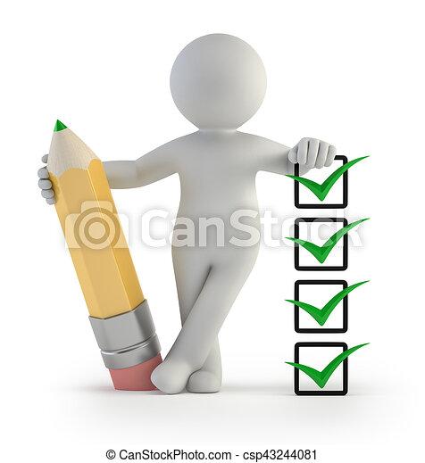 -, persone, assegno, piccolo, matita, 3d - csp43244081