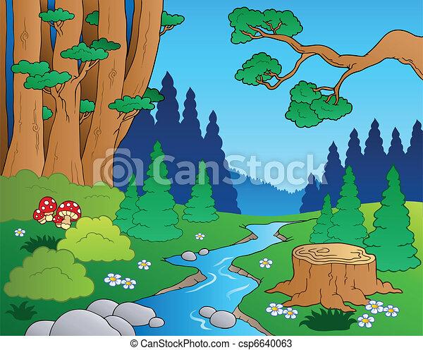 1, cartone animato, paesaggio, foresta - csp6640063