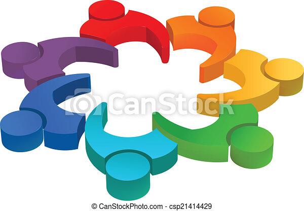 10, concetto, image., esecutivo, lavoro squadra, vettore, riunione, directors., squadra, 3d, riunione, icona - csp21414429