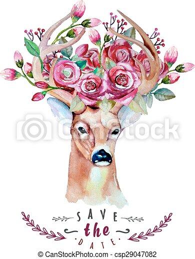 10., watercolor., cervo, eps, illustrazione, matrimonio, risparmiare, date. - csp29047082