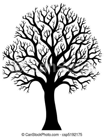 2, albero, senza, silhouette, foglia - csp5192175
