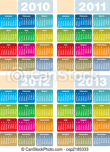 2011, 2010, calendario, 2013, 2012 - csp2185333