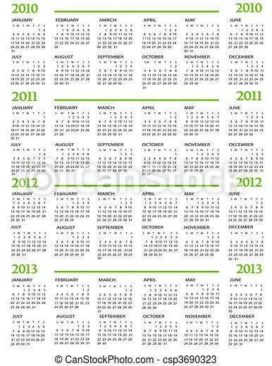 2011, calendario, 2012, 2013, 2010 - csp3690323