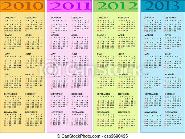 2012, calendari, 2011, 2010 - csp3690435