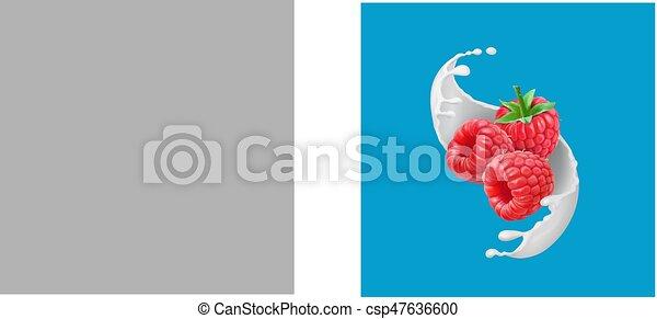 3d, illustrazione, realistico, vettore, splash., frutte, lampone, latte, icona - csp47636600