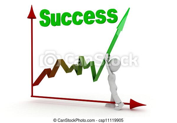 3d, successo, uomo affari - csp11119905
