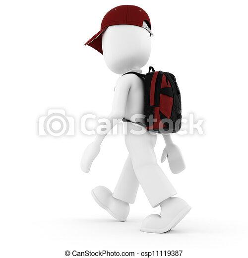 3d, vacanza, viaggiatore, uomo - csp11119387