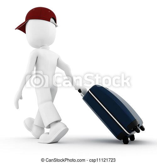 3d, vacanza, viaggiatore, uomo - csp11121723