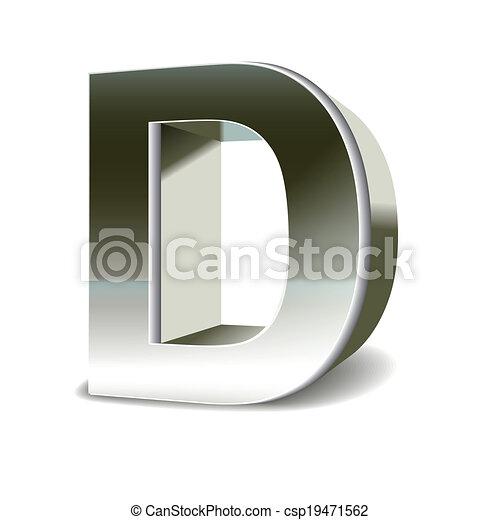 acciaio, 3d, d, lettera, argento - csp19471562