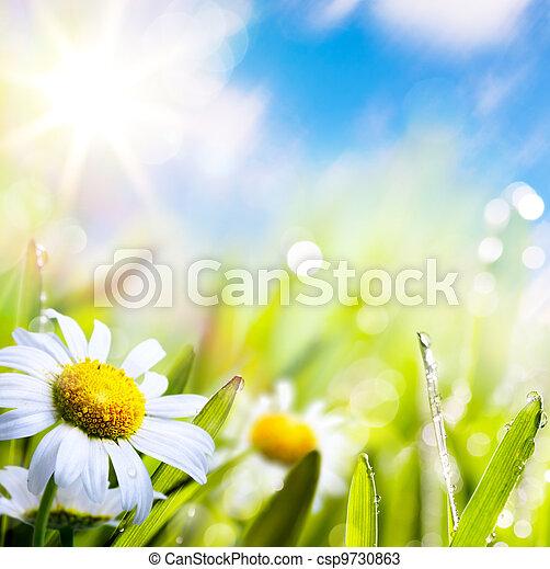 acqua, astratto, cielo, fondo, arte, estate, sole erba, fiore, gocce - csp9730863