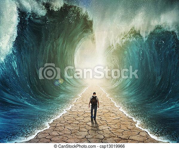 acqua, camminare, attraverso - csp13019966