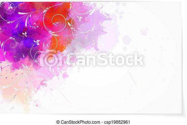 acquarello, astratto, fondo, florals - csp19882961