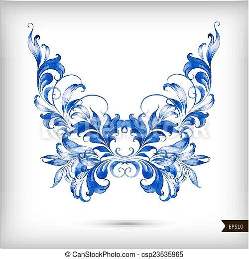 acquarello, blu, farfalla - csp23535965