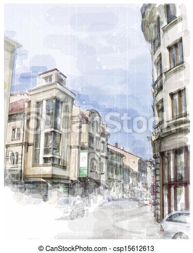 acquarello, città, strada., illustrazione, style. - csp15612613