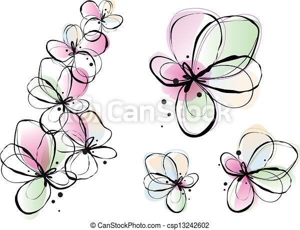 acquarello, fiori, astratto, vettore - csp13242602