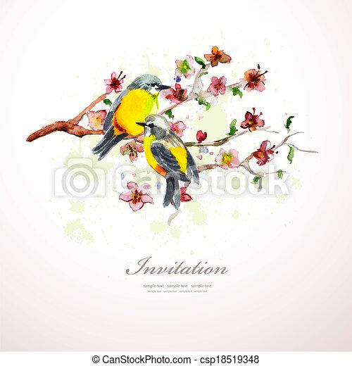 acquarello, fiori, tuo, design. - csp18519348