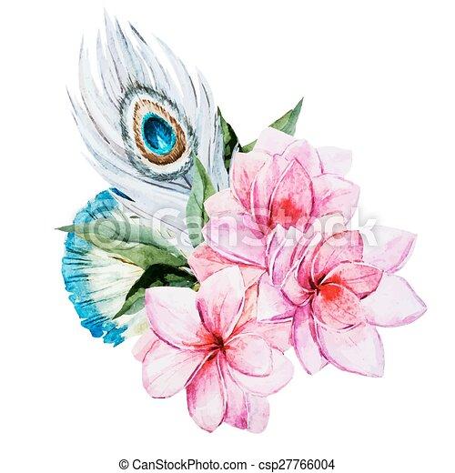 acquarello, fiori - csp27766004