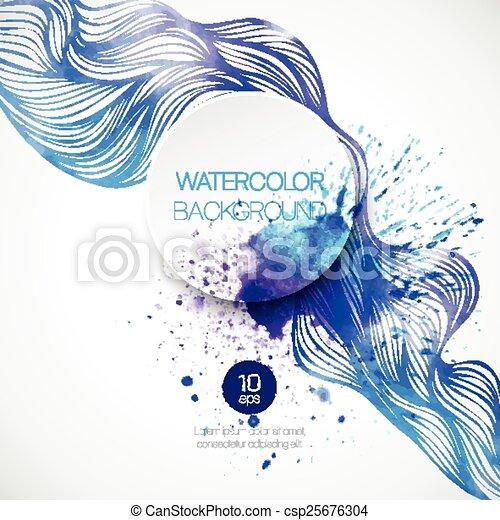 acquarello, fondo., vettore, illustrazione, onda - csp25676304