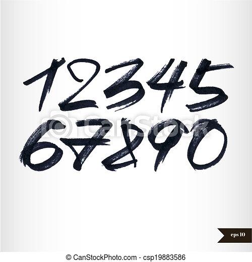 acquarello, numeri, calligraphic - csp19883586