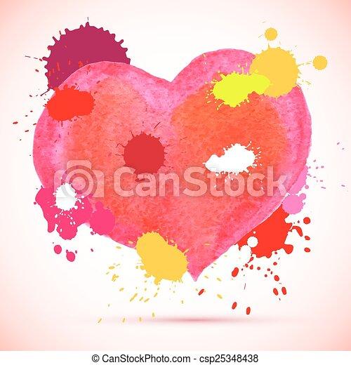 acquarello, rosa, vettore, cuore - csp25348438