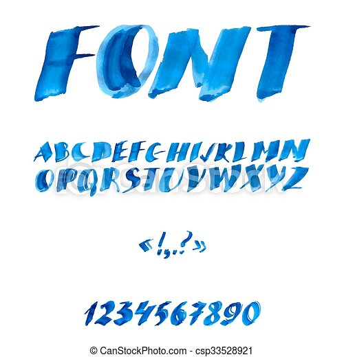 acquarello, scritto mano, alfabeto, symbols., numeri - csp33528921
