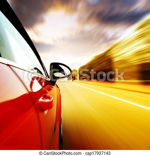 ad alta velocità, automobile, notte - csp17937143