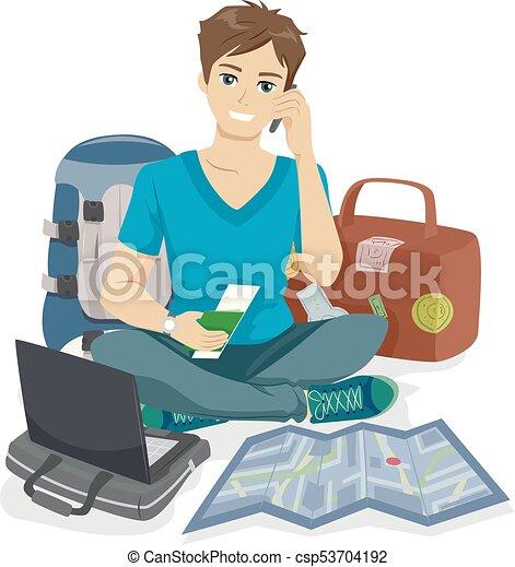 adolescente, tipo, viaggiatore, imballaggio - csp53704192