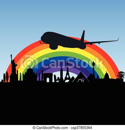 aeroplano, antico, illustrazione, monumento - csp37855364
