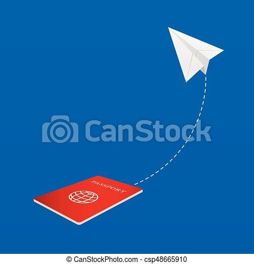 aeroplano, carta, passaporto, illustrazione - csp48665910
