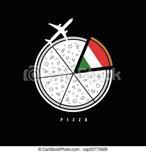 aeroplano, illustrazione, pizza - csp33773926