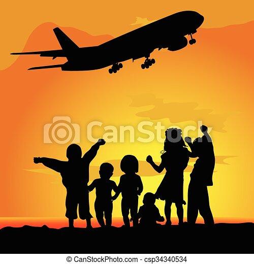 aeroplano, silhouette, bambini, illustrazione - csp34340534