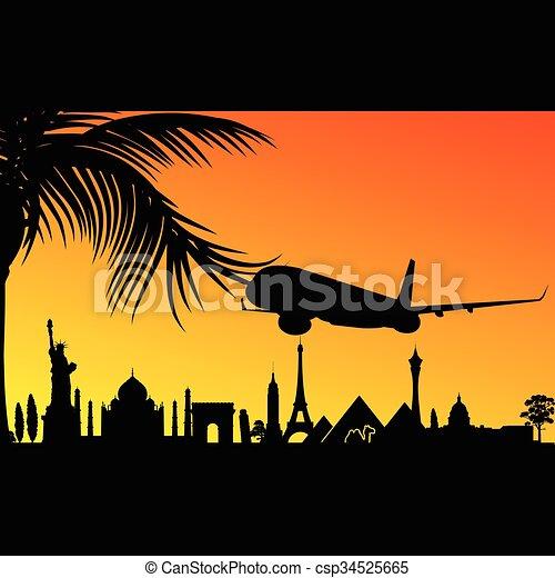 aeroplano, storico, illustrazione, monumento - csp34525665