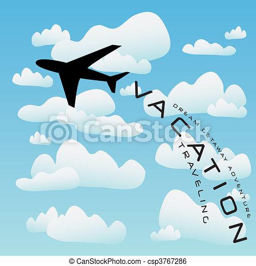 aeroplano, vettore, viaggio vacanza - csp3767286