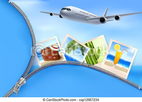 aeroplano, viaggiare, fondo, concept., vettore, foto, holidays. - csp12957234