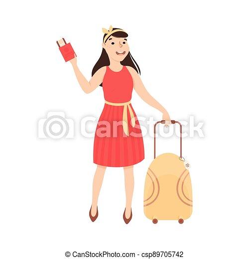 aeroporto, giovane, illustrazione, turista, vacanza, biglietti, valigia, aereo, andare, viaggio, vettore, cartone animato, ragazza, donna - csp89705742