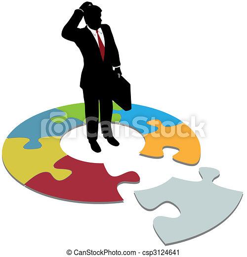 affari, confuso, mancante, soluzione, domande, pezzo, uomo - csp3124641