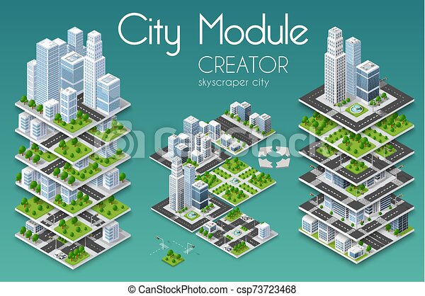 affari, infrastruttura, urbano, città, isometrico, concetto - csp73723468