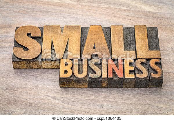 affari, letterpress, tipo, legno, piccolo, bandiera - csp51064405