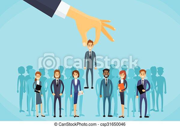 affari, mano, scegliere, candidato, reclutamento, persona - csp31650046