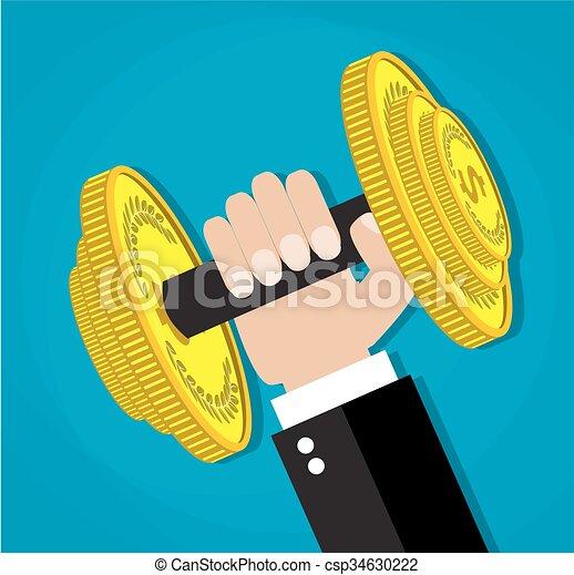 affari, potere, esecutivo, sollevamento, barbell - csp34630222