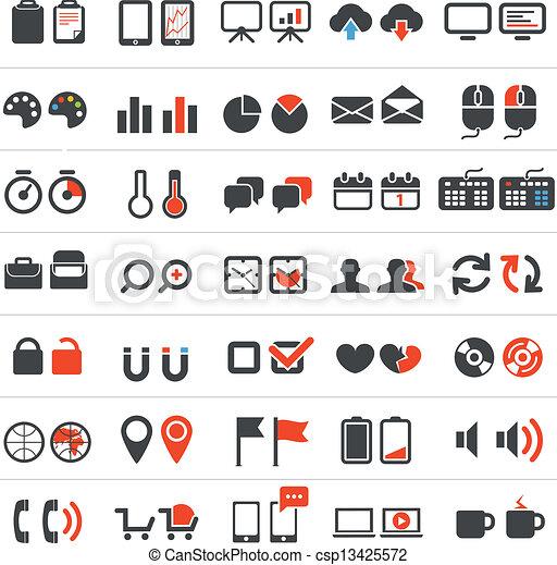 affari tela, collezione, icone - csp13425572