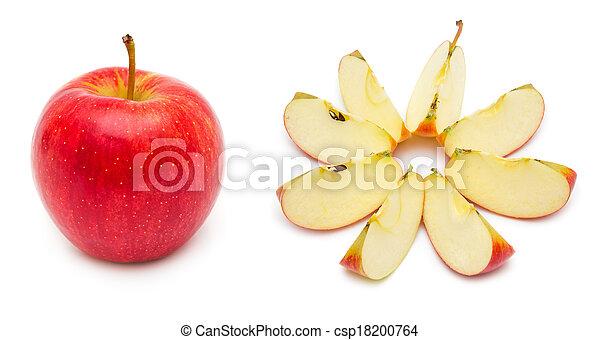 affettato, mela intera, rosso - csp18200764