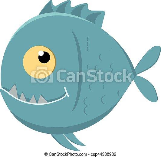 affilato, carino, cartone animato, piranha, denti - csp44338932