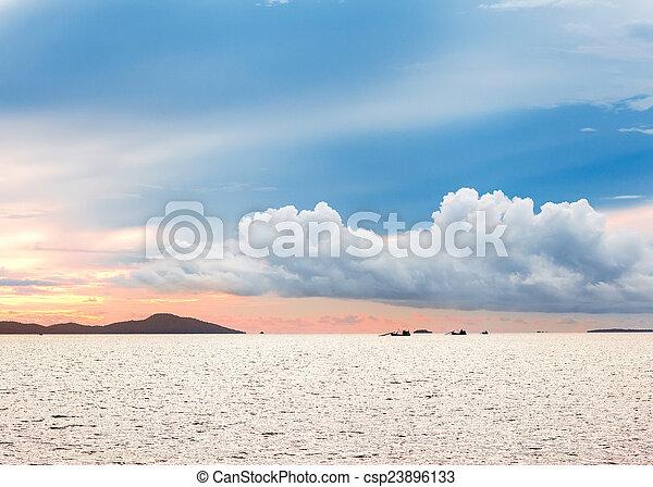 alba, orizzonte, visibile, mare, isole - csp23896133