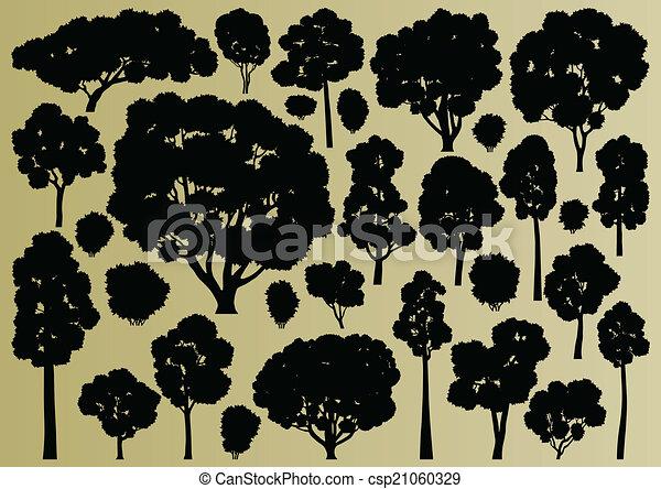 albero, collezione, silhouette, illustrazione, fondo, foresta - csp21060329