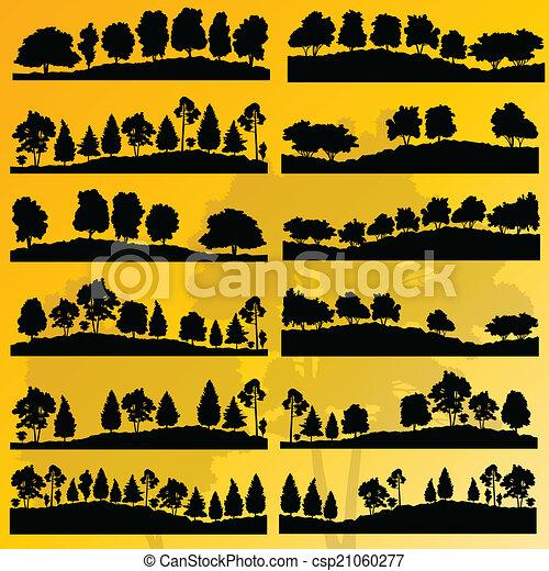 albero, collezione, silhouette, illustrazione, fondo, foresta - csp21060277