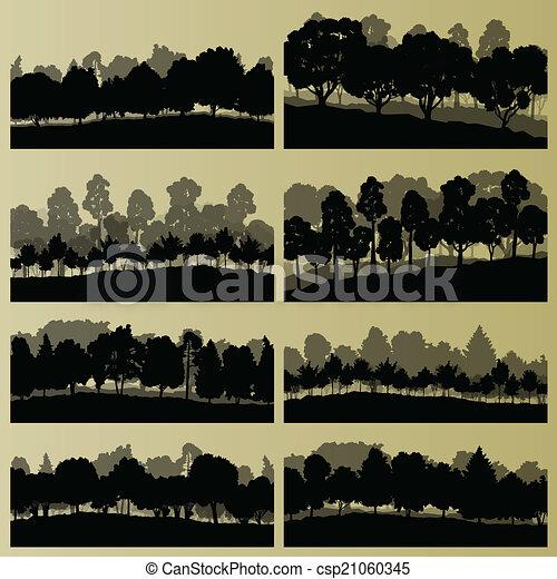 albero, collezione, silhouette, illustrazione, fondo, foresta - csp21060345