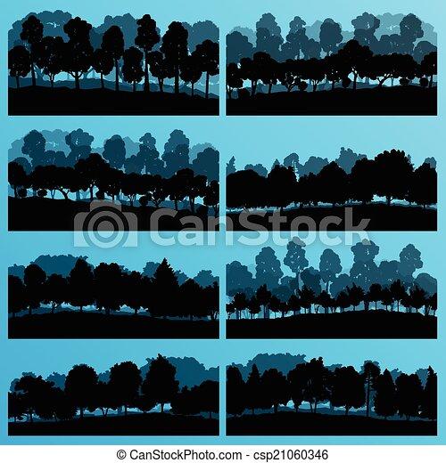 albero, collezione, silhouette, illustrazione, fondo, foresta - csp21060346