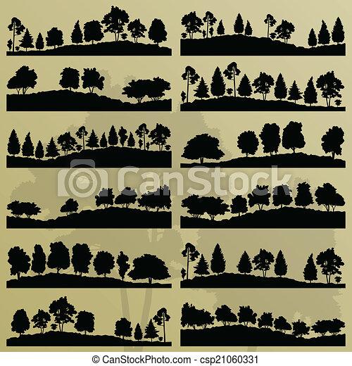 albero, collezione, silhouette, illustrazione, fondo, foresta - csp21060331