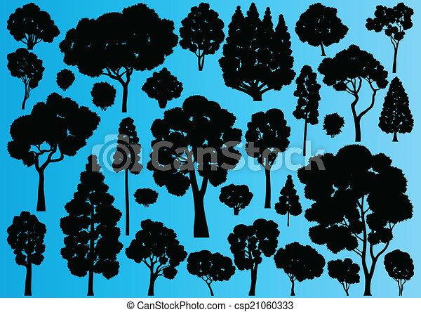 albero, collezione, silhouette, illustrazione, fondo, foresta - csp21060333